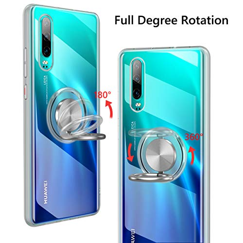 Vunake Huawei P30 Hülle, Silikon TPU Slim Cover Transparent Ultradünn Handyhülle mit 360 Grad Ring Stand Magnetische Autohalterung Schutzhülle Case für Huawei P30,Clear - 2