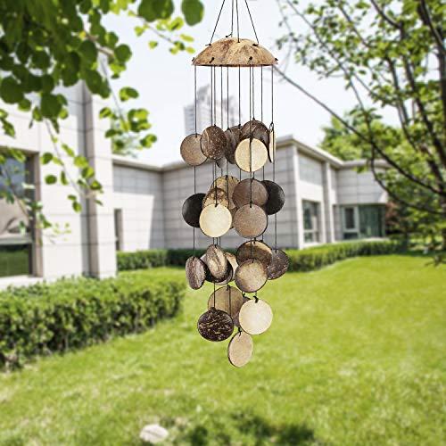 ASTARIN Kokosnussschalen-Windspiel für draußen, Bambus-Windspiel für draußen, perfekte Dekoration für Ihre eigene Terrasse, Veranda, Garten oder Hinterhof.