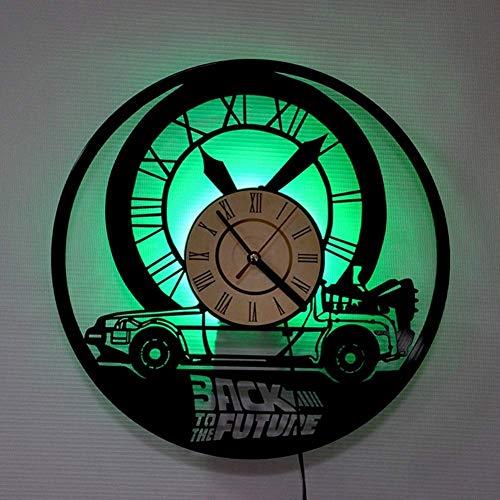Vinilo Pared Reloj Regreso al Futuro luz LED Record Reloj Retro del Vinilo de 12 Pulgadas decoración Siete Colores