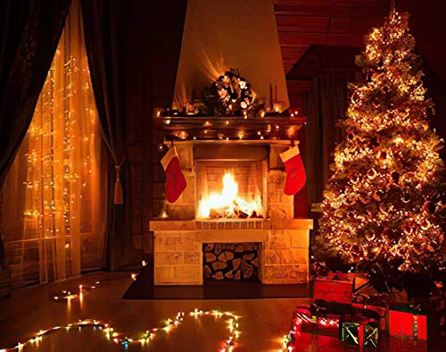 MQPPE Fireplace 5D DIY Diamond Painting Kits, Christmas Decorated with Fireplace Window and Xmas Tree Full Drill Painting Arts Set Craft Canvas for Home Wall Decor Adults Kids, 16' x 20'