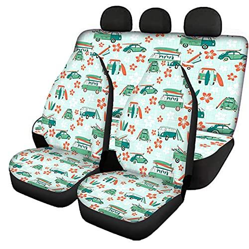 KUILIUPET 4 unidades de fundas para asiento de coche para asiento delantero, fundas cómodas para respaldo de banco trasero, felices campistas con diseño de tablas de surf, funda decorativa