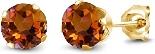 Gem Stone King 1.20 Ct Round Shape Orange Mystic Topaz Yellow Gold Plated Silver Stud Earrings