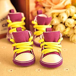 YBAA 4pcslot Autumn Winter Outdoor Warm Pet Dog Denim Shoes Puppy Canvas Shoes Small Dogs (Color : Purple, Size : L)