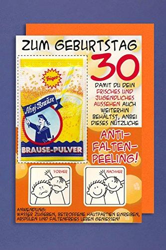 Grußkarte 30 Geburtstag Karte Humor Applikation Brause Pulver C6