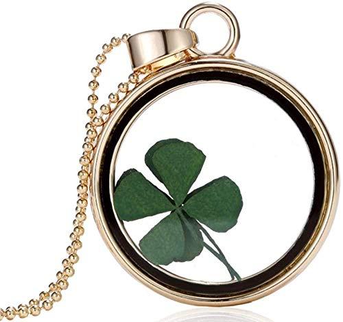 NC110 Collar con Colgante de medallón de Cristal Redondo de Resina de trébol de Cuatro Hojas de la Suerte de Flor Seca Real Natural para joyería de Mujer YUAHJIGE