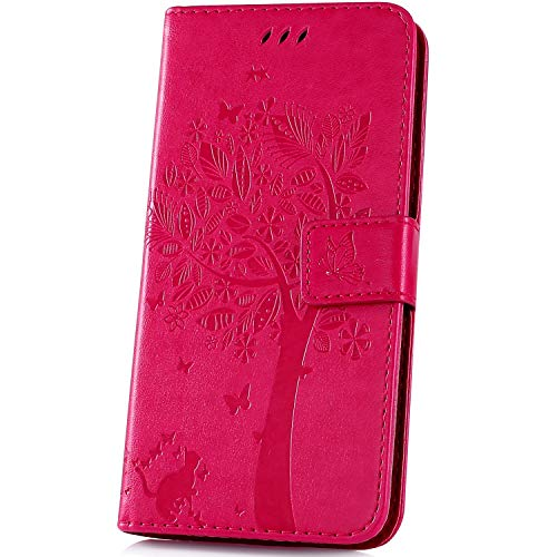 JAWSEU Compatible avec LG V50 ThinQ Coque Portefeuille PU Étui Cuir à Rabat Magnétique Lovely Belle Chat et Arbre Ultra Mince Stand Leather PU Flip Wallet Case,Rose Rouge