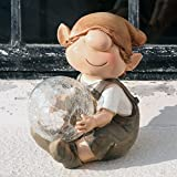 Andy The Elf Resin Garden Ornament With Solar Powered Illuminating Colour Ball,