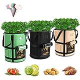 Tvird Macetero Bolsa Planta 3 Pack 7 Galones, Bolsa de Verduras, Bolsas de Cultivo, para Plantas Vegetales Aptas para Plantas de Patata, Zanahorias, Tomates, Cebollas y Otros