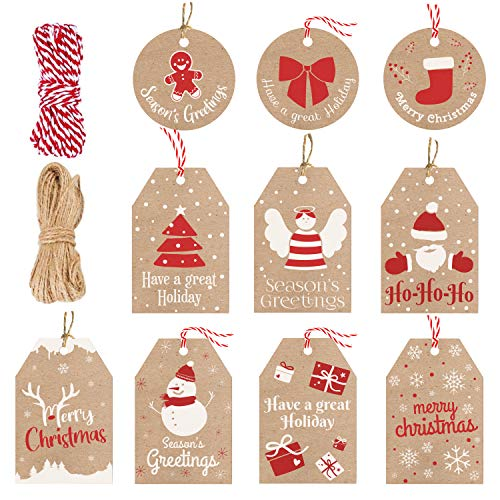 100 Pieces Set Christmas Tags with String Perfect for Labeling Your Surprises - 10 Different Designs Kraft Paper Tags with Twine Included Great for Present Wrapping, Baked Goods Tags, Price Tags