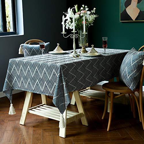 Mantel de cocina de lino a rayas de algodón cuadrado con borlas blancas para decoración de mesa de comedor de salón 90 x 90 cm azul