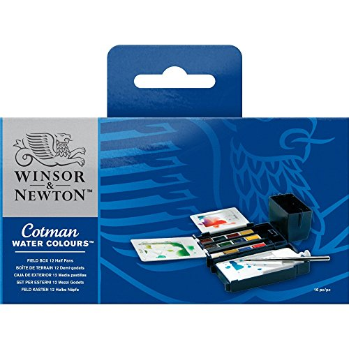 Winsor & Newton Cotman Water Colour Paint Field Box Set, Set of 12, Half Pans