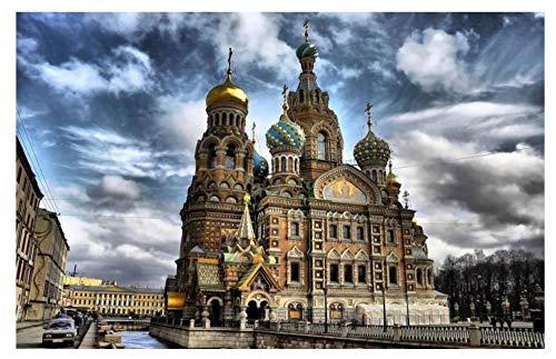 NA Peinture par Numéro Kit, DIY Peintures pour Adultes Enfants Seniors Débutant - Église De Pétersbourg sur Le Sang Versé