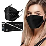 50PCS Black KF94 Face_Mask, 4-Ply Filtеr Black KF94 Mẵsk for Adult/Kids,3D Design Shape Face_Masks for Children Back to School with Elastic Earloop and Nose Clip (Adult-55pc)