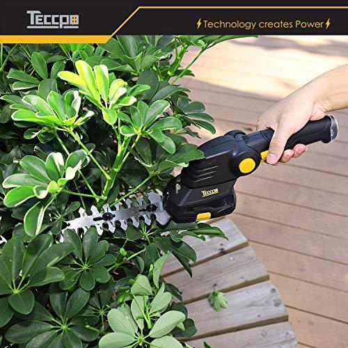 TECCPO Forbici a Batteria, 7.2V Sfoltirami Cesoie 1.5Ah, USB Carica Veloce 80min, Maniglia Rotante, Larghezza di Taglio 90mm, per Tagliare l'Erbaccia Angola - TDGS03G