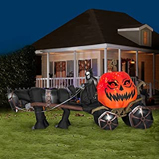 Grim Reaper with Horse Drawn Pumpkin Carriage Halloween Yard Inflatable, 14 Feet