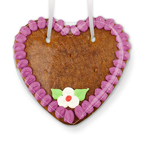 Lebkuchenherz Rohling mit Rand und Deko - Farbe: Lila - zum selbst Beschriften z. B. für am Kindergeburtstag, 15cm von LEBKUCHEN WELT