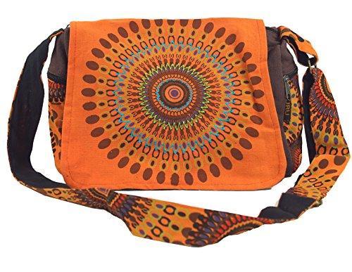 GURU SHOP Schultertasche, Hippie Tasche, Goa Tasche - Orange, Herren/Damen, Baumwolle, Size:One Size, 23x28x12 cm, Alternative Umhängetasche, Handtasche aus Stoff
