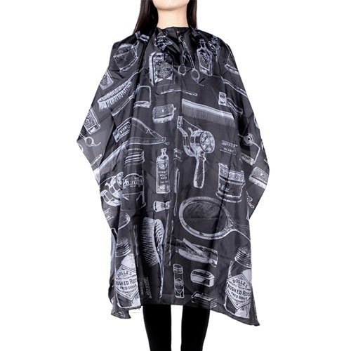 Borogo Professional Waterproof Hair Styling Cape Nylon Haircuting Salon Cape Gown Hair Salon with Snap Closure - 50' x 60' Black