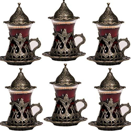 Set von 6 handgefertigten türkischen Tee Wasser Zamzam Servierset Gläser Untertasse (Autentic)