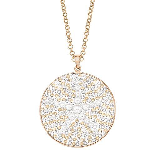 NOELANI Damen-Kette 80cm mit rundem Anhänger Seestern veredelt mit Kristallen von Swarovski und Glasperlen