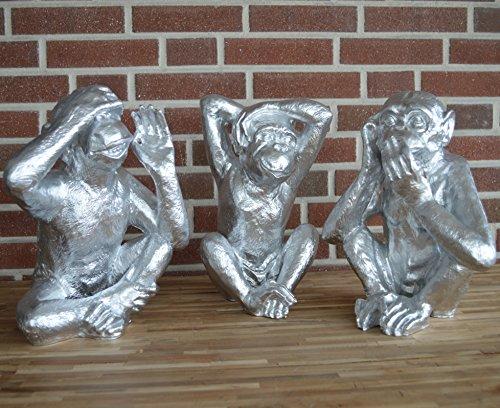 Set di scimmia bande in argento divertente scimmia statuetta decorativa in poliresina (resina)