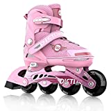 DICTUMOTION Inline Skates for Boys and Girls with Light Up Wheels Fun Illuminating Roller Skates for Kids,Adjustable Outdoor Roller Skates for Men and Women,Roller Blades/ Skates Girls in Kids