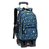 車輪付きトロリーバックパックスクールバッグ、子供用取り外し可能なローリングスクールバッグ、6輪防水高脚大容量男の子スクールバッグ、屋外