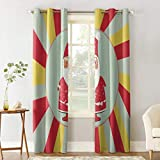 Kitchen Tier Curtains Light Filtering Christmas Elements Santa Claus 2 Panels Privacy Protection Sliver Grommet Chic Draperies & Curtains for Living Room Bedroom Dorm Patio Sliding Door 52'Wx96'L