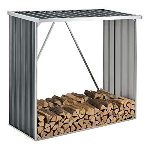 casa.pro Brennholzunterstand aus Stahl Brennholzlager Kaminholz Unterstand Regenschutz für Holz 156x80x152cm Anthrazit