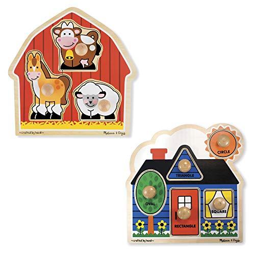 Melissa & Doug Jumbo Knob Puzzle Bundle (Shapes and Barn)