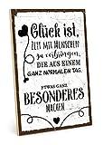 TypeStoff Holzschild mit Spruch – Glück – im