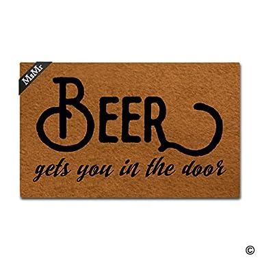MsMr Doormat Entrance Floor Mat Funny Door Mat Beer Gets You In The Door Designed Non-slip Doormat 18 by 30 Inch Non-woven Fabric