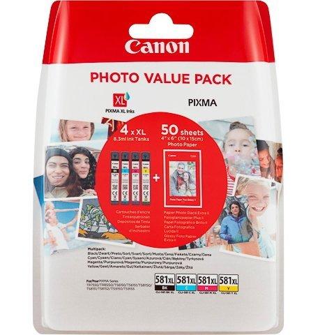 Canon CLI-581XL BK/C/M/Y Druckertinte - mit hoher Reichweite jeweils 8,3 ml + Fotopapier Value Pack für PIXMA Tintenstrahldrucker ORIGINAL