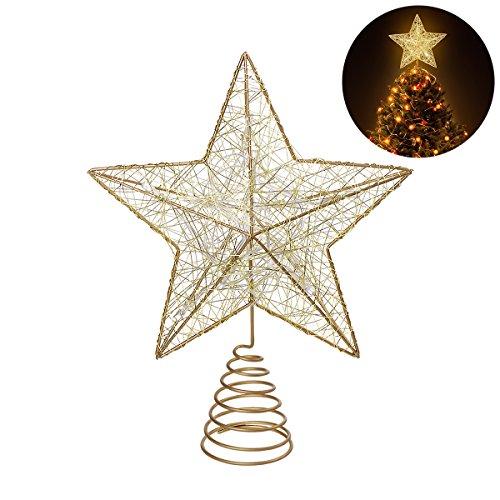 NICEXMAS 9.8 Zoll Goldener Stern-Baum-Deckel mit LED-Lichtern für Weihnachtsbaum-Dekoration