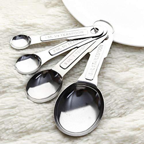NOBRAND 4 unids/Set 1 ml / 2 ml / 5 ml / 15 ml cucharas de Medición de Acero Inoxidable Herramientas de Medición de café o té Herramienta de Escala de Cocina Gift (Color : Silver)