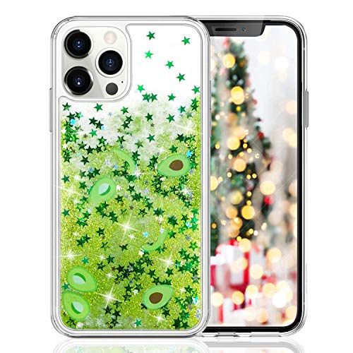 LUVI for iPhone 11 Pro Max Liquid Glitter Case Quicksands Avocado Star Funny Bling Shiny Crystal Flowing Sparkle Moving Protective Cover Cute Fruit Clear Bumper Case for iPhone 11 Pro Max