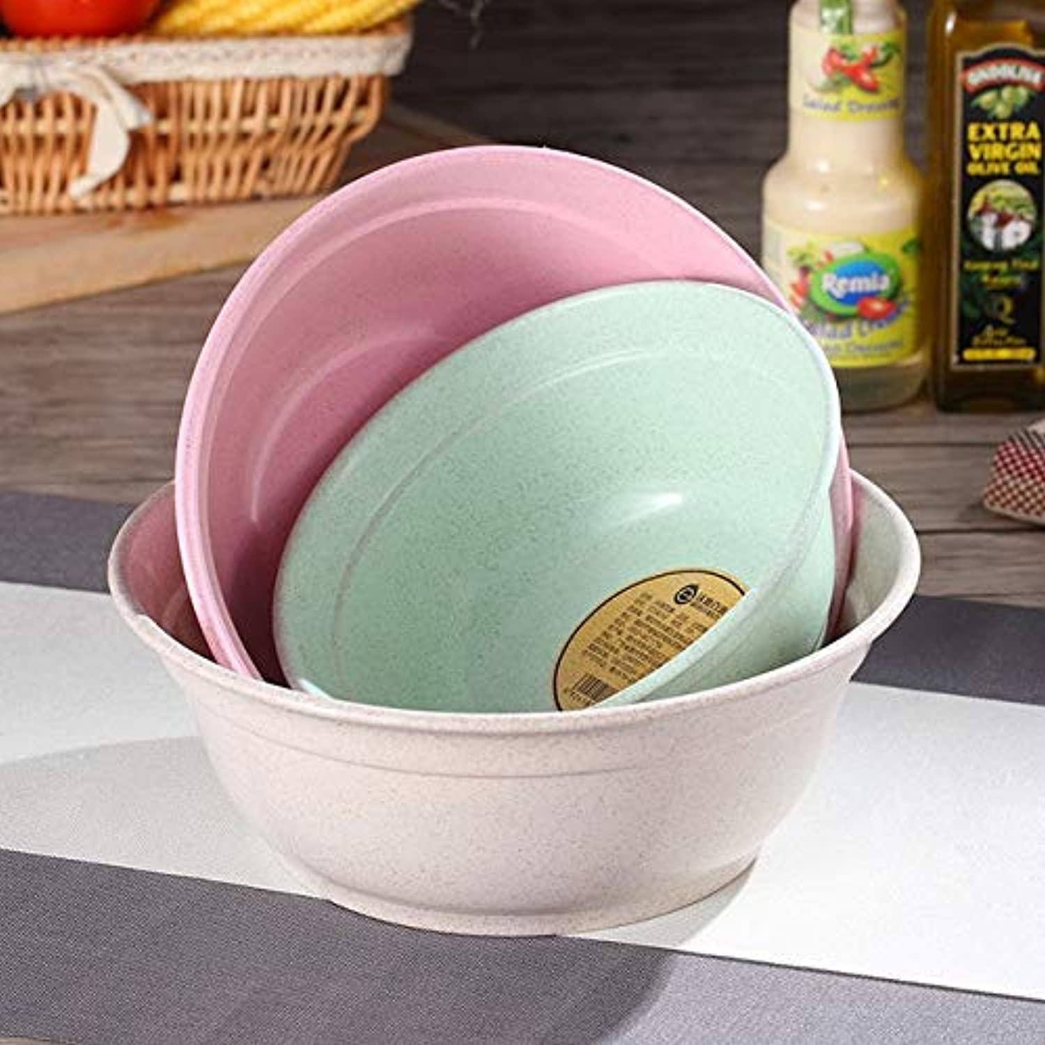 Farmerly WORTHBUY 3Pcs Set Wheat Straw Kitchen Mixing Bowl Set Eco-Friendly Plastic Fruit Vegetable Bowl Salad Food Containers Bowls   3 Pcs 1 Set