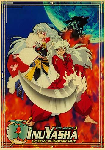 zhizunbao Japanese Anime Inuyasha Poster Retro Style Canvas Wall Stickers Bar Cafe Decorative Painting Home Decoration (50X70Cm) Frameless YI1798