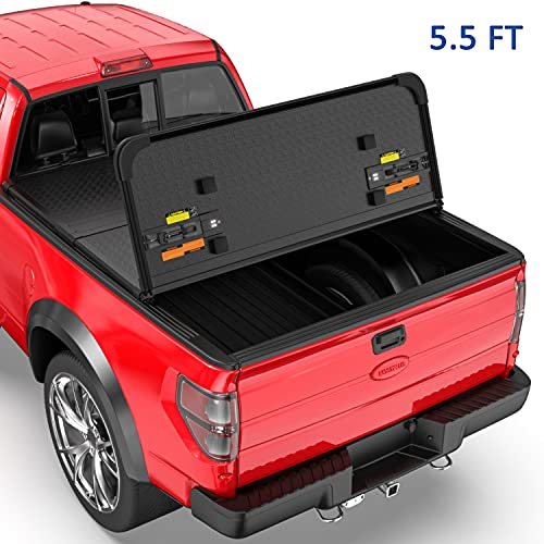 MOSTPLUS Tri-Fold Hard Truck Bed Tonneau Cover On Top Compatible for 2009-2014...