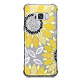 Galaxy S8 Case Clear with Sunflower Design Shockproof Protective Case for Samsung Galaxy S8 Cute Summer Yellow Flowers Pattern Flexible Soft Slim Rubber Floral Cell Phone Back Cover for Girls Women