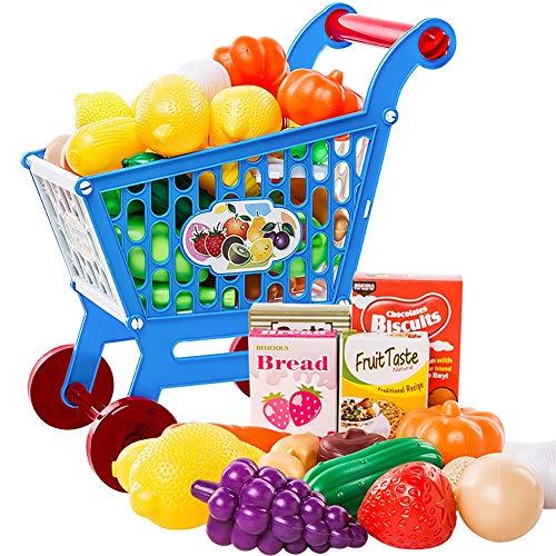 Blaward 17 Piezas Juguetes de Cocina Juegos de imitación Alimentos de Juguete Carrito de Compras de Juguete Juegos Divertidos para niños y niñas