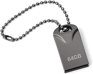 Memorias USB 64GB, Mini Pendrive 64GB USB Stick Impermeable Metal Unidad Flash 64 GB con Llavero Colgante para Almacenamie...