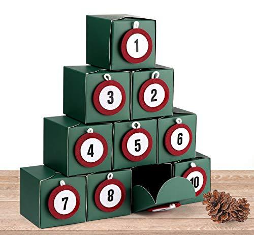 ilauke DIY Adventskalender Kisten Set - 24 Weihnachtliche Adventswürfel im Set mit 24 Zahlenaufkleber für zum Basteln und Befüllen - 24 Boxen