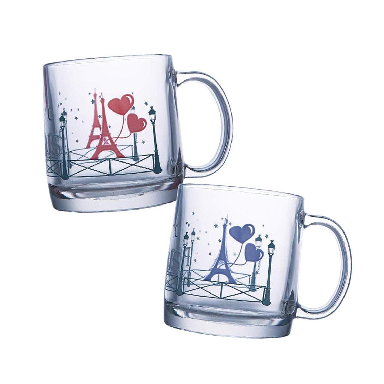 鎖シガレット前部ガラスカップ暖かい色変更コーヒーカップカップルカップミルクカップホットドリンクカップ (色 : クリア)