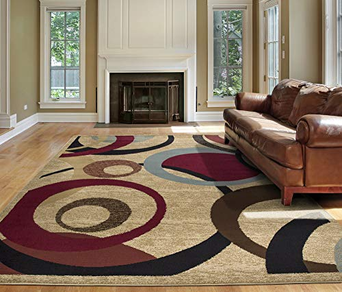 "Ottomanson Royal Collection Contemporary Abstract Circle Design Area Rug, 7'10"" X 9'10"", Red"