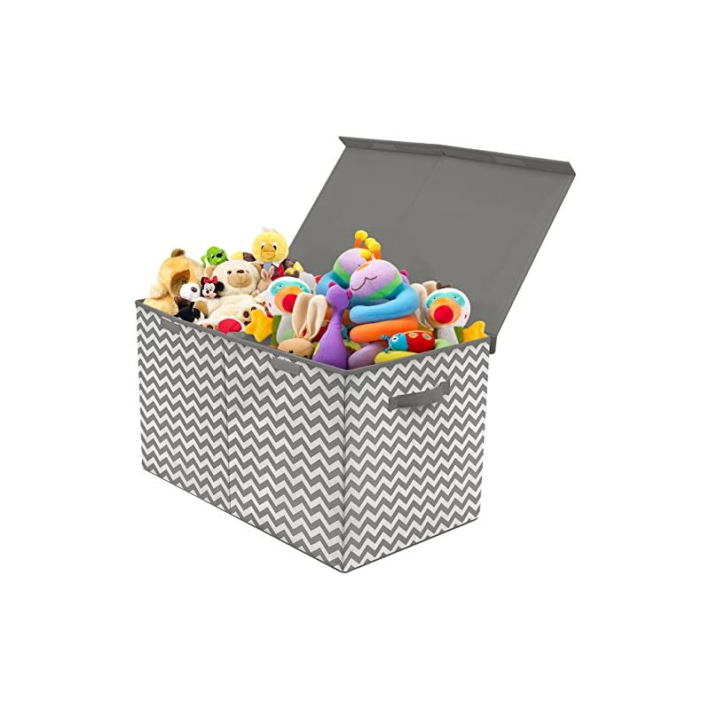 crib bedding and baby bedding sorbus toy chest with flip-top lid, kids collapsible storage for nursery, playroom, closet, home organization, large (pattern - chevron gray)