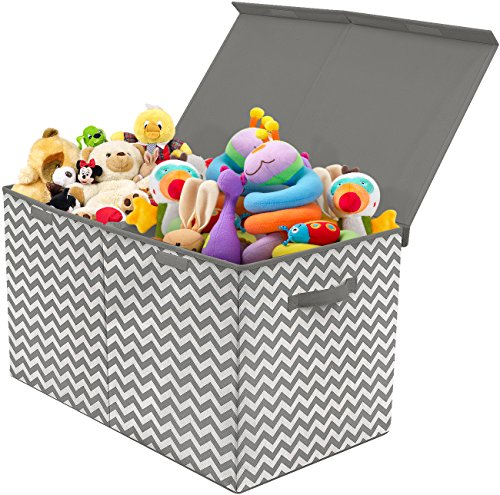 Image of the Sorbus Toy Chest with Flip-Top Lid, Kids Collapsible Storage for Nursery, Playroom, Closet, Home Organization, Large (Pattern - Chevron Gray)