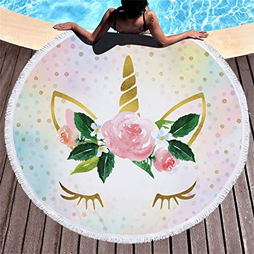 Toalla De Playa Redonda, Impresión Digital De Dibujos Animados, Tapete De Playa A Prueba De Arena De Secado Rápido, Toalla De Playa De Microfibra 150 * 150cm