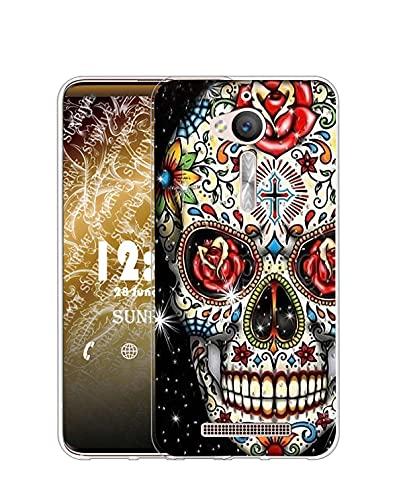 Sunrive Kompatibel mit ASUS Zenfone Go ZB500KL Hülle Silikon, Transparent Handyhülle Schutzhülle Etui Hülle (Q Skelett)+Gratis Universal Eingabestift MEHRWEG