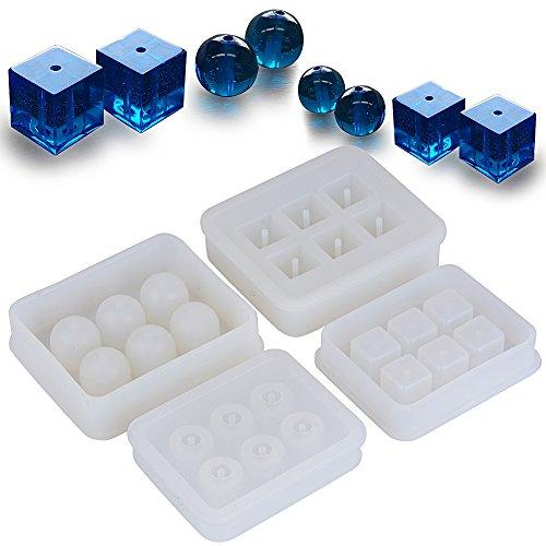 4pcs Molde Silicona Resina (Bolas+ Cubos) para Hacer Joyerias Collares Pendientes Fabricación Colgante Bricolaje DIY para Resina Yeso Cera Jabón